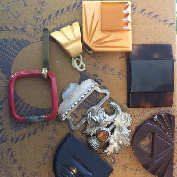 0e908ae5d0f Accessories - 7 vintage belt buckle celluloid lucite parts